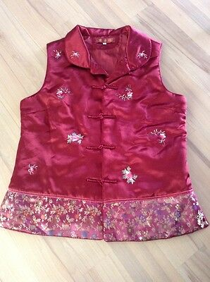 Oriental Satin Vest Shirt Brocade Asian Red Gold STUNNING MUST SEE Green Floral