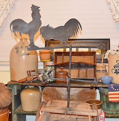 Large Antique Vintage Double Rooster (Chicken?) Weather Vane Country Folk Art