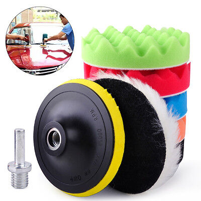 Universal 7Pcs 7 Inch High Gloss Buffing Buffer Waxing Pad Kit For Car Polisher