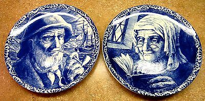 2 Antique Plates Boch BELGIUM Fisherman Pipe Old Woman & Man Blue Delft 11.25""