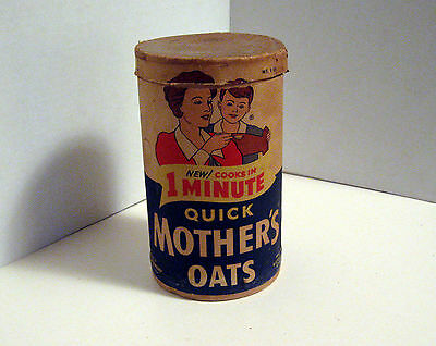 Vintage Display Mothers Oats Container w Lid Quaker Oats Co Paper Advertising