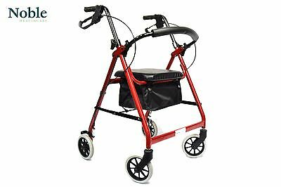 Hand Brake Walker,Light Collapsible Rollator Red, Folding Walking Aid