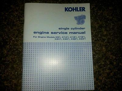 Kohler Engine Service Manual K181 K241 K301 K321 K341 Repair Shop Overhaul Tech