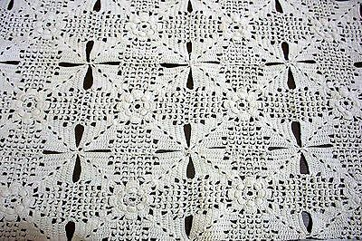 Vintage Ecru Cotton Hand Crochet Motif Table Centre Doily