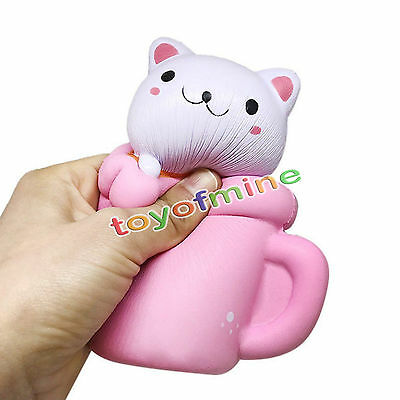 Hot Colossal Squishy Pink/Red Cup Cat Slow Rising Cream Scented Phone Strap