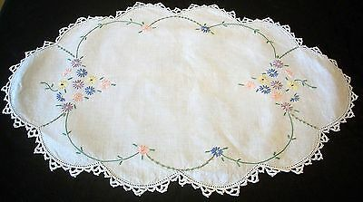 Vintage Linen Hand  Embroidered Small Flowers Centrepiece
