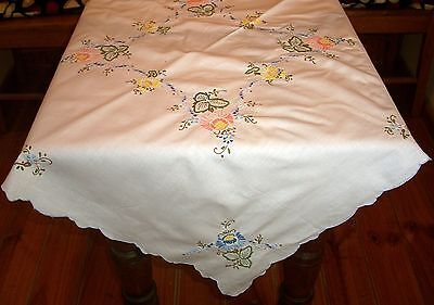Vintage Linen Tablecloth Hand Embroidered Flowers & Cut Outs