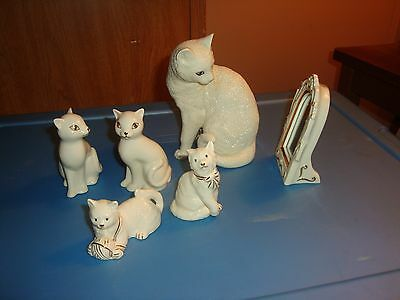 Lenox Lot Of Cat Figurines-Admiration-Cat With Mirror-Playing W/yarn Ball-Others