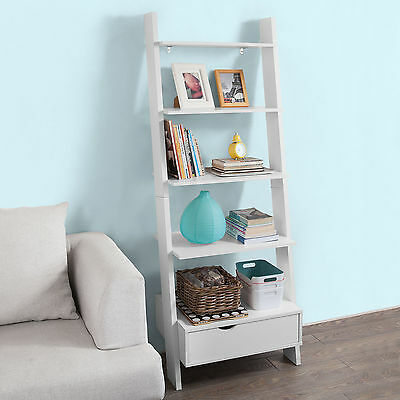 SoBuy® Ladder Storage Wall Shelving Unit with 4 Shelves and Drawer,FRG112-W,UK