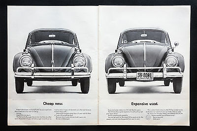 1962 VOLKSWAGEN BEETLE VW Cheap New vintage print ad 2 page large magazine