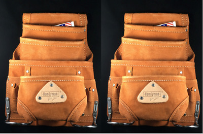 10 pocket LEATHER Carpenter Electrician Nail & Tool bag pouch waist belt 2 PACK