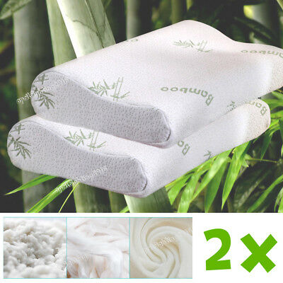 2 x Bamboo Contour Pillow Memory Foam Fabric Fibre Cover 50 x 30cm
