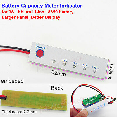3S Lithium Li-ion 18650 12V BMS Battery Capacity Level LED Indicator Panel Meter