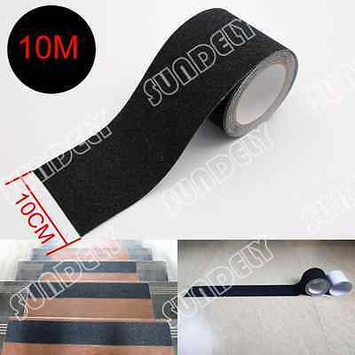 "4"" x 10m Black Anti Slip Tape Grit Non-Skid Stair Bathroom Self Adhesive Sundely"