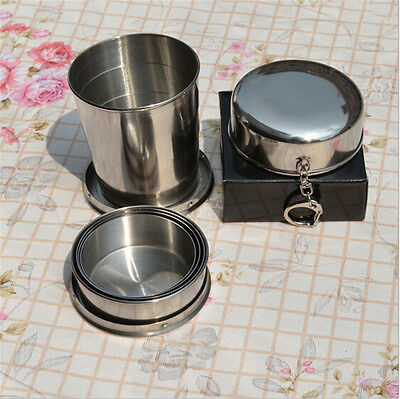 Stainless Steel Portable Outdoor Camping Travel Foldable Collapsible Cup 75ml