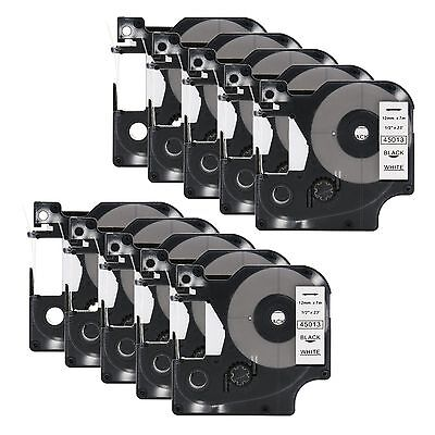10 Compatible DYMO D1 LabelManager 45013 S0720530 Black on White Label Tape