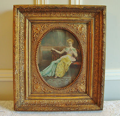 Beautiful Antique French Wood Picture Frame Framed Print Circa 1900 Wooden