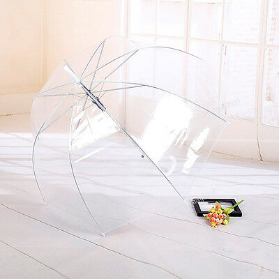 Clear Transparent Rain Umbrella Parasol PVC Dome Wedding Party Favor Waterproof