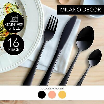 NEW Cutlery Set Gold Black Rose Gold Stainless Steel Knife Fork Tea Spoon 16 Pc