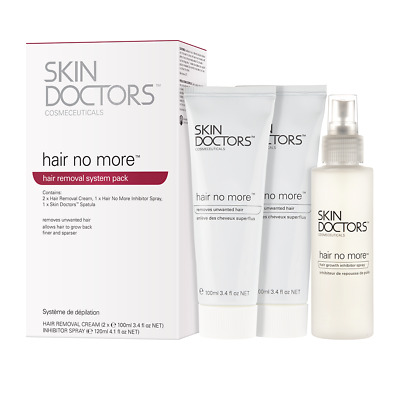Skin Doctors Hair No More System Pack 2 x Hair removal cream 1 x Inhibitor spray