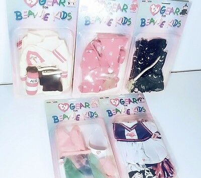 TY BEANIE KIDS GEAR CLOTHES LOT of 5 NIB --Pajamas-Beach-Firefighter-Witch-Cheer
