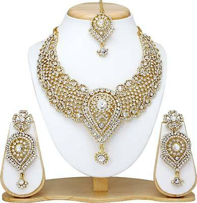 Indian Bollywood Style Fashion Gold Plated Bridal Jewelry Necklace Earrings Set