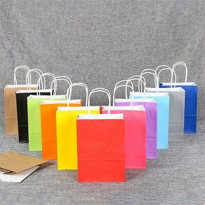 Recyclable Party Gift Coloured Kraft Paper Handles Bag Wedding Birthday Shopping