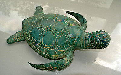 """large brass TURTLE old style look display green hand made statue 11"""" heavy"""