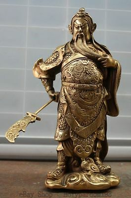 Chinese Fengshui Stand Guan Gong Yu Warrior God Dragon Sword Brass Statue