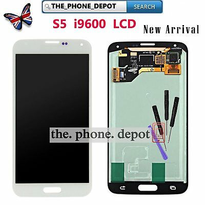 For Samsung Galaxy S5 i9600 G900F LCD White Digitizer Touch Screen Replacement