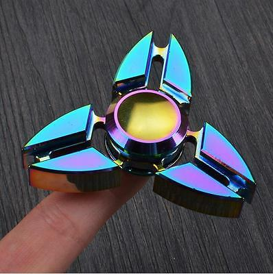 Rainbow Crab Tri Hand Fidget Spinner Pocket Focus Desk Toy EDC Finger Tip Gyro