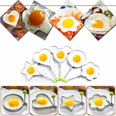 5XStainless Steel Frying Pan Fried Egg Pancake Cooking Ring Mould Shaper Mold UP