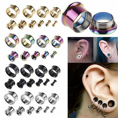 2pcs 3-20mm Chirurgical Acier Flesh Tunnel Ear Plug Oreille Piercing Ecarteur
