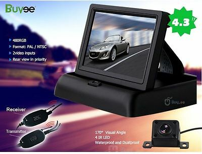 "Wireless Car Rear View Kit 4.3"" Fold LCD Monitor + Night Vision Reversing Camera"