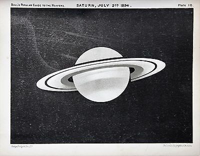 Antique Astronomy Print, Planet Saturn Rings, Victorian Lithograph (10)