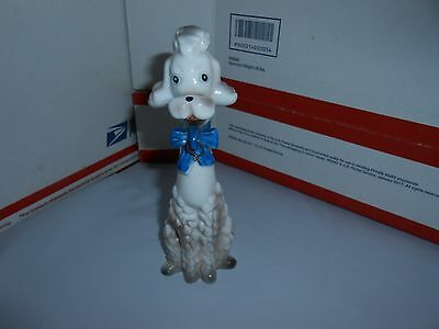 "Vtg Porcelain Spaghetti Poodle Dog Missing Puppies Blue Bow 6"" Tall 5T-2865"