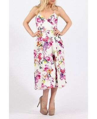Floral Midi Skater Dress Ladies Day Wedding Guest Prom Party 8 10 14 16