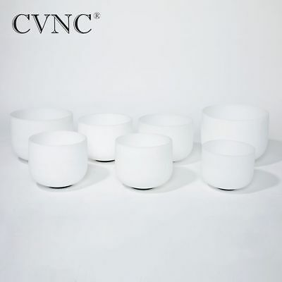 """High pitch Chakra tuned set of 7pcs  Frosted Quartz Crystal Singing Bowl 7""""-14"""""""