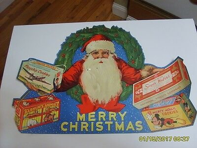Old Antique Vintage Nabisco Cookie Christmas Santa Claus Advertising Window Sign