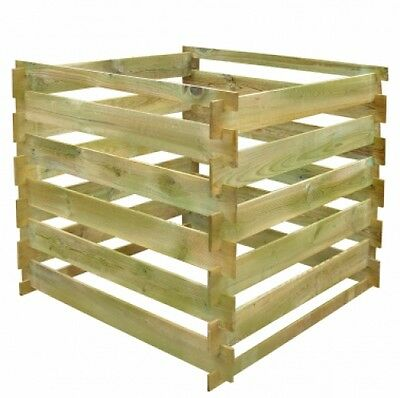 Slatted Compost Bin Garden Wooden Square Composter Organic Waste Wood Bins Lawn