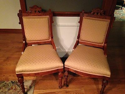 Pair Antique Eastlake Upholstered  Formal Parlor Dining Chairs