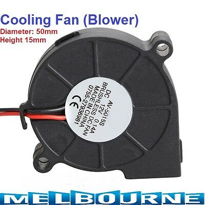 Cooling Blower Fan 2 Pin Wires 5015S 12V 0.14A 50x15mm Black Brushless DC Cooler