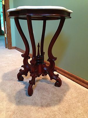 19th C. Victorian Carved Marble Top Side Table