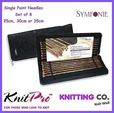 KnitPro Symfonie Wood Straight Knitting Needles Set of 8 [Dif. Sizes] Knit Pro