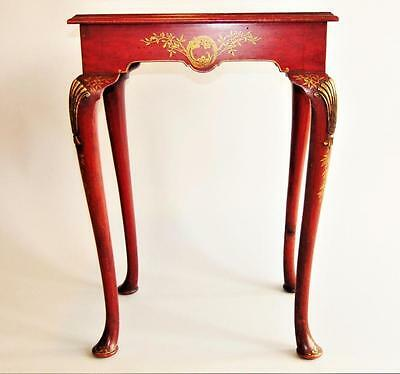 Elegant Red Lacquer & Gilt Side Table