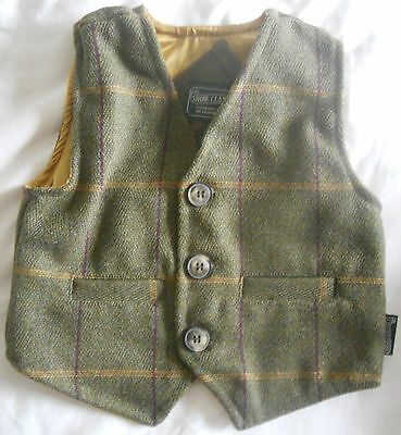 Children's Genuine Tweed Waistcoat with Gold Lining - Shire Classics