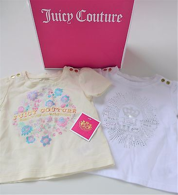 2 x JUICY COUTURE Baby T-Shirts / Tee Shirts Age 6-9m 1 x cream + 1 x white BNWT