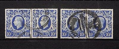 SS4292 GB KGVI Blue 10/- Used 2x Blocks of 2