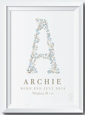 Personalised New Baby Floral Name Birth Nursery Picture Print Christening Gift