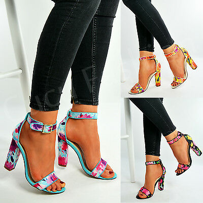 New Womens Floral Print Ankle Strap Sandals Ladies High Block Heels Shoes Size